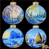 Набор ёлочных шаров ручной работы (4 на 100) Зимние мотивы.