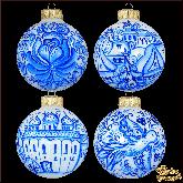 Набор ёлочных шаров ручной работы Гжель.