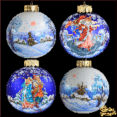 Набор ёлочных шаров ручной работы (4 на 100) Зима в стиле палех.