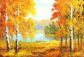 """Картина на холсте """"Золотая осень в октябре"""""""