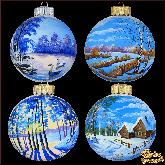 Набор ёлочных шаров ручной работы (4 на 100) Русские просторы.