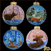 Набор ёлочных шаров ручной работы (4 на 100) Животные.