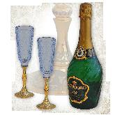 Набор бутылка шампанского, два фужера