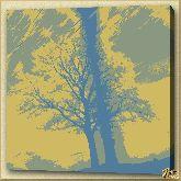Ветвистое дерево, картина, Модерн пейзаж №9
