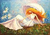 "Картина на холсте ""Дама под зонтиком"""