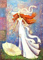 """Картина на холсте """"Девушка в белом платье"""""""