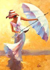 """Картина на холсте """"Девушка с зонтом"""""""