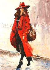 "Картина на холсте ""Девушка в красном"""