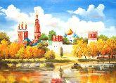 """Картина на холсте """"Новодевичий монастырь осенью"""""""
