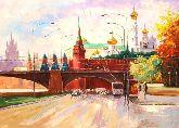 """Картина на холсте """"Кремль.Золотые купола"""""""