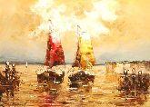 """Картина на холсте """"Парусники в ночном море"""""""