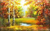 """Картина на холсте """"Пруд в осеннем лесу"""""""