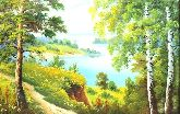 """Картина на холсте """"Жаркий полдень у реки"""""""
