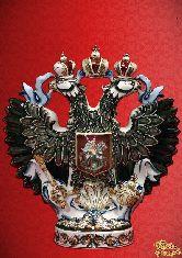 Фарфоровый штоф Орел (цветной с зол.)