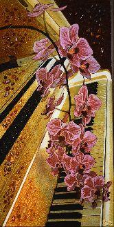 Картина из янтаря Орхидея фиолетовая