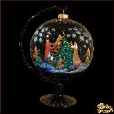 Ёлочный шар ручной работы на подставке Ёлка палех. Художник Терентьева.