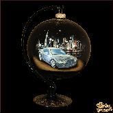 Ёлочный шар ручной работы на подставке Бентли палех. Художник С. Терентьев.