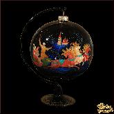 Ёлочный шар ручной работы на подставке  Тройка палех. Художник Критова.