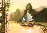"""Картина на холсте """"Китайская лодка"""""""