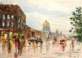 """Картина на холсте """"Прогулка по Санкт-Петербургу"""""""