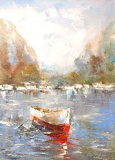 """Картина на холсте """"Лодка в море"""""""