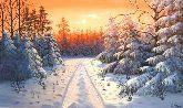 """Картина на холсте """"Сказочный лес зимой"""""""