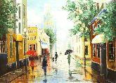 "Картина на холсте ""Прогулка под дождем в городе"""