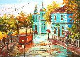 "Картина на холсте ""Трамвай под дождем"""