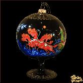 Ёлочный шар ручной работы на подставке Тройка палех. Художник Бокарева Л.А..