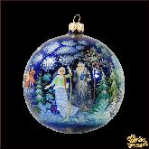 Елочный шар ручной работы Снегурочка палех. Художник Лакеева