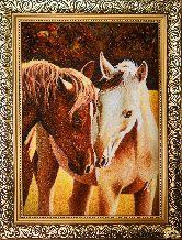 Картина из янтаря Пара лошадей