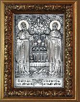 Икона Пётр и Февронья, рамка модерн, 85х160