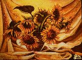 Картина из янтаря Подсолнухи на занавеске