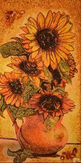 Картина из янтаря Подсолнухи в кувшине