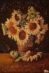 Картина из янтаря Подсолнухи в плетеной вазе