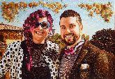 Портрет стильной пары из янтаря