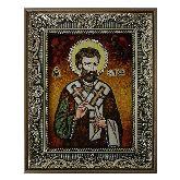 Преподобный Варнава икона из янтаря