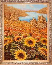 Река и подсолнухи на картине из янтаря