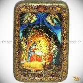 Рождество Господа Бога и Спаса нашего Иисуса Христа, настольная икона, 10х15 на мореном дубе