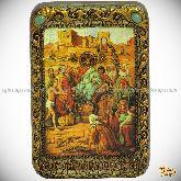 Вход Господень В Иерусалим, настольная икона, 10х15 на мореном дубе