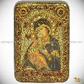 Образ Владимирской Божьей Матери, настольная икона, 10х15 на мореном дубе