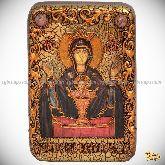 """Божией матери """"Неупиваемая чаша"""", настольная икона, 10х15 на мореном дубе"""