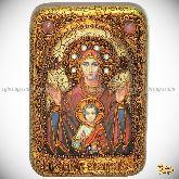 """Образ Божией Матери """"Знамение"""", настольная икона, 10х15 на мореном дубе"""