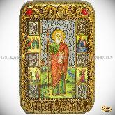Святой апостол Андрей Первозванный, настольная икона, 10х15 на мореном дубе
