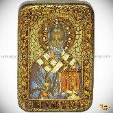 Святитель Николай, архиепископ Мир Ликийский (Мирликийский), чудотворец, архиепископ Крымский, настольная икона, 10х15 на мореном дубе