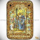Преподобный Серафим Саровский чудотворец, настольная икона, 10х15 на мореном дубе