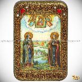 Петр и Февронья, настольная икона, 10х15 на мореном дубе