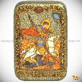 Чудо святого Георгия о змие, настольная икона, 10х15 на мореном дубе