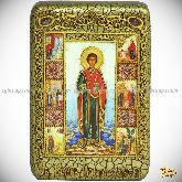 Святой Великомученик и Целитель Пантелеймон, настольная икона, 10х15 на мореном дубе