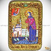 Святая Блаженная Ксения Петербургская, настольная икона, 10х15 на мореном дубе